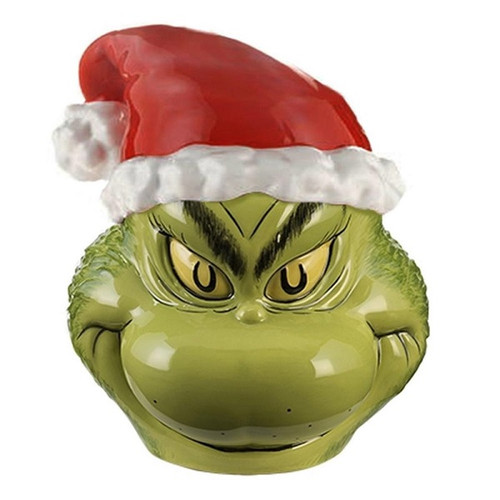 Sculpted Santa Grinch Cookie Jar