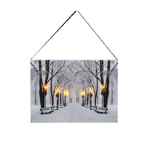 Flickering LED Winter Scene Canvas
