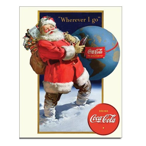 Coke Santa Globe Tin Sign
