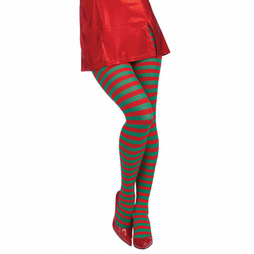 Green & Red Striped Stockings for Her
