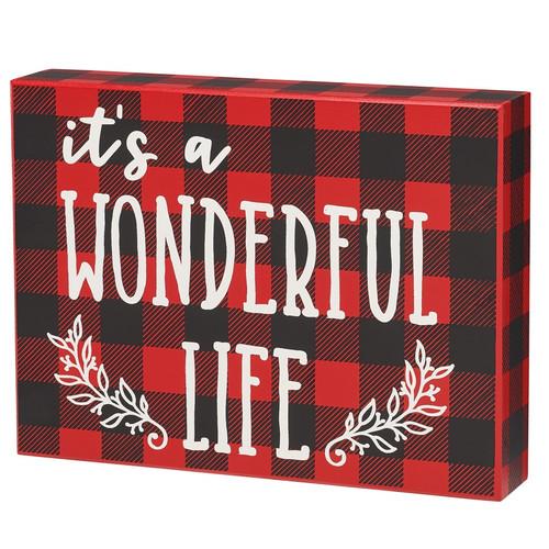 It's A Wonderful Life Wood Shelf Sitter Sign