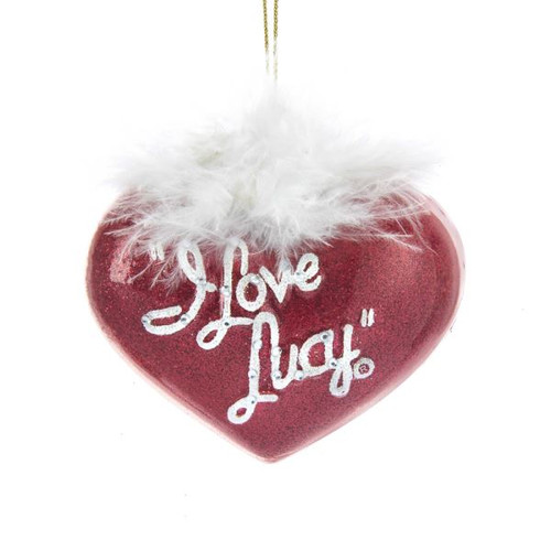 I Love Lucy Glass Heart Feather Ornament