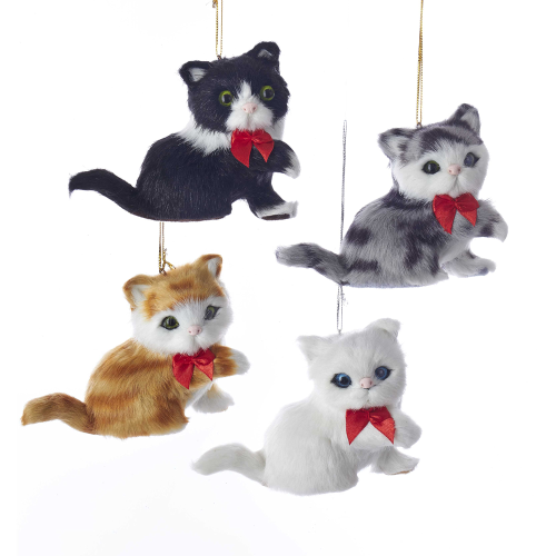 Furry Sitting Cat Ornaments