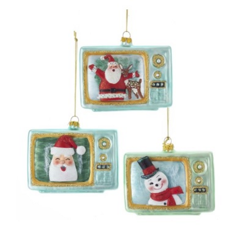 Glass Retro TV Ornaments