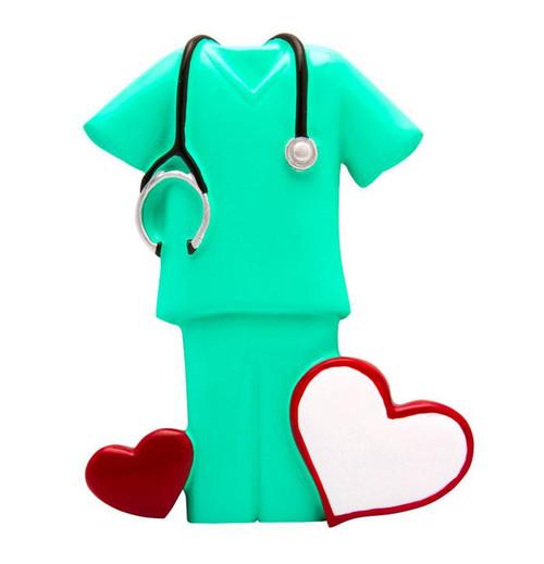 Generic Green Hospital Scrubs with Stethoscope