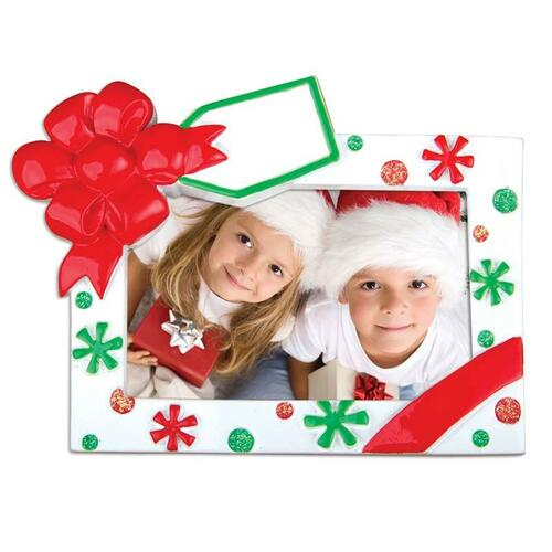Red and Green Christmas Frame Personalized Ornament