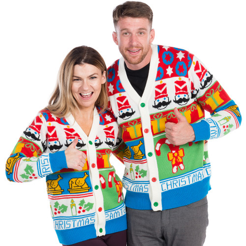 Christmas Sweaters For Couples.Cheesy Nutcracker Ugly Christmas Cardigan World S Best