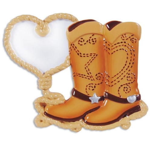 Cowboy Boot Couple Personalized Ornament