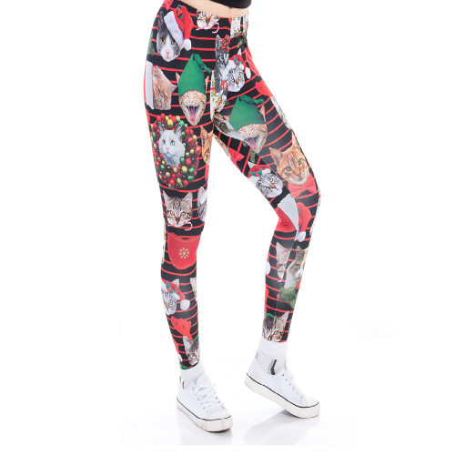 Chuangdi Halloween Leggings Stretchy Tights Women Holiday Costume Tights for Halloween Irish Party Favor Color 7, XL