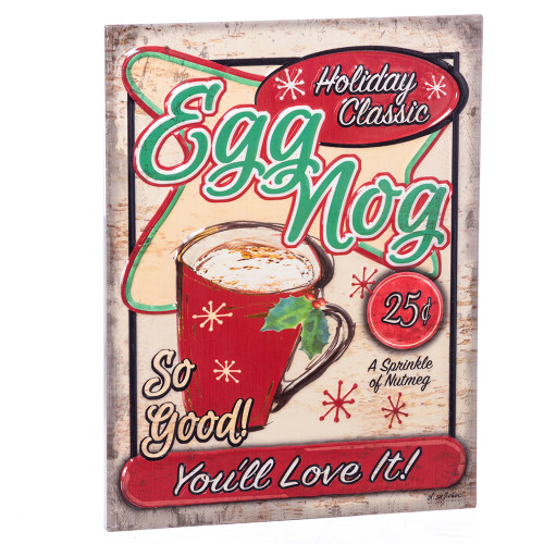 Egg Nog Metal Sign