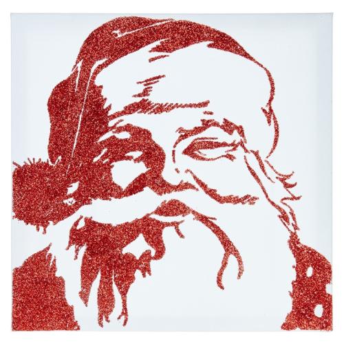 Glitter Retro Santa Wall Art