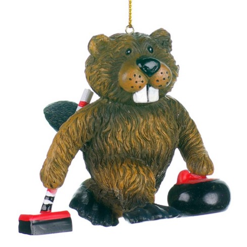 Beaver with Curling Rock and Broom Ornament
