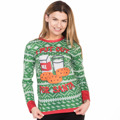 a712ca0d99b I Put Out for Santa Ugly Christmas Long Sleeve Tee Faux Real - Front