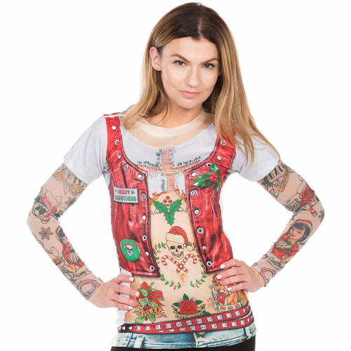 a5934516b47 Christmas Biker Chick Ugly Christmas Long Sleeve Tee Faux Real - Front