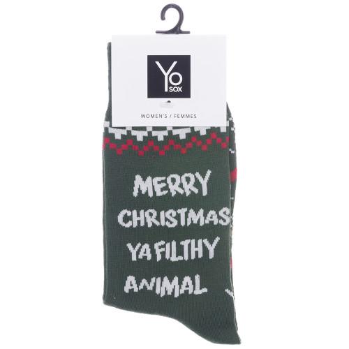 Merry Christmas Ya Filthy Animal Women's Crew Socks by Yo Sox