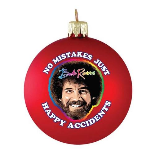 Bob Ross Happy Little Accidents Glass Ornament