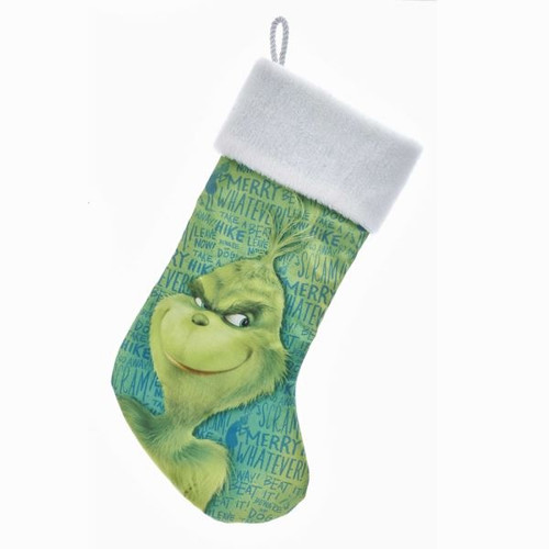 """New Grinch Movie """"Whatever"""" Green Stocking"""
