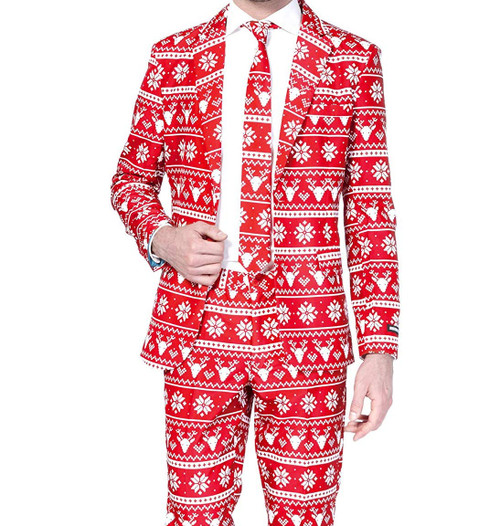 Christmas Suit.Red Nordic Ugly Christmas Suit By Suitmeister