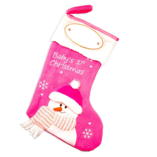 Pink Baby's First Christmas Personalized Stocking