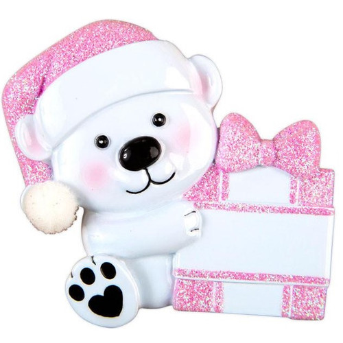 Baby Bear with Pink Present Personalized Ornament