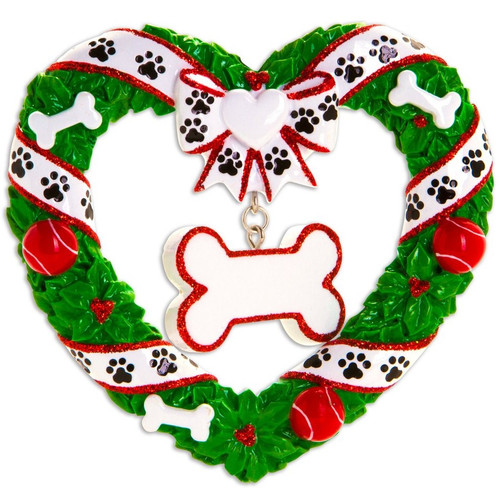 Puppy's Christmas Wreath Personalized Ornament