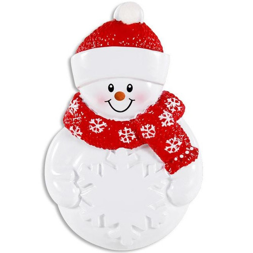 Snowman Holding A Snowflake Personalized Ornament