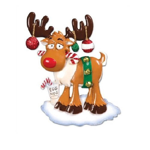 Christmas Moose with Egg Nog Personalized Ornament