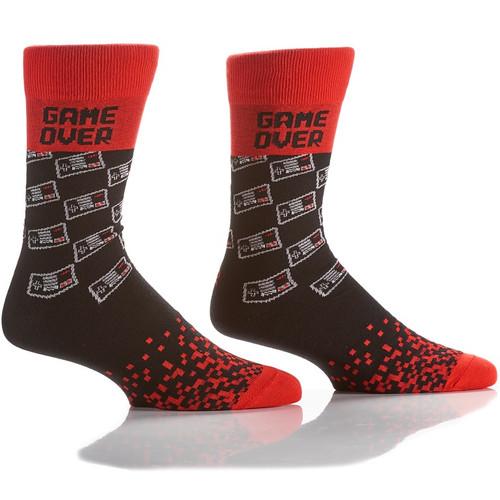 Video Game Over Men's Crew Socks Full Sock View