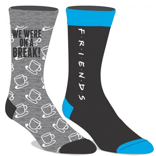 Friends Logo and We Were On A Break Two Pair Crew Socks