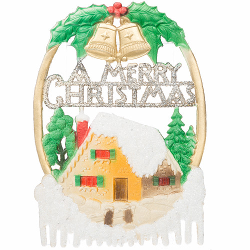 A Merry Christmas - Vintage German Die-Cut Paper Christmas Decoration with Bells and House