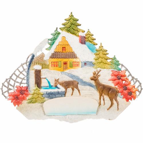 Vintage German Christmas Art Embossed Paper with Deer Scene