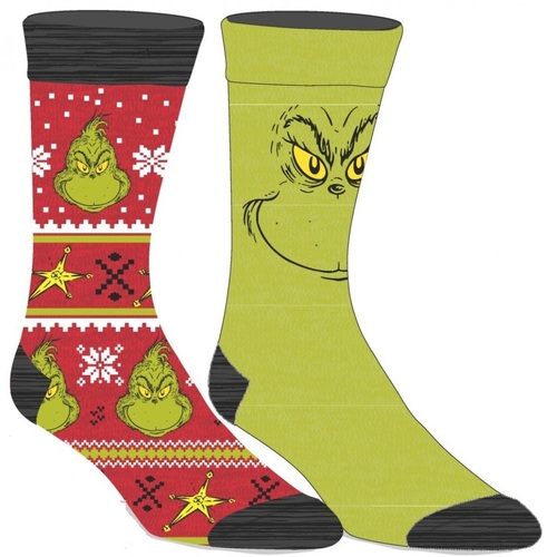 How The Grinch Stole Christmas Two Pair Crew Sock Pack