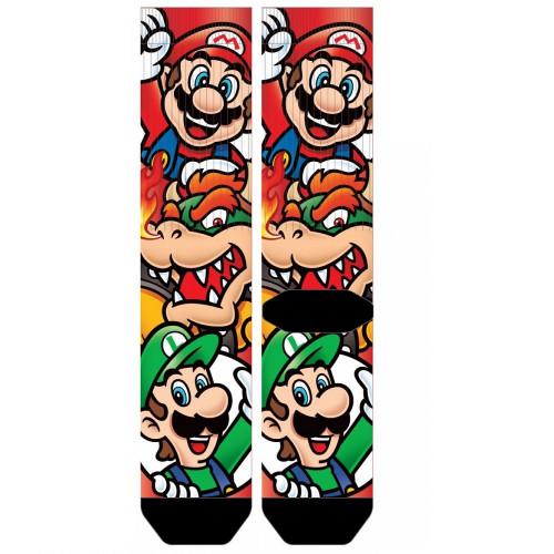 Nintendo Super Mario Bros. Stacked Bower, Mario and Luigi Heads Crew socks