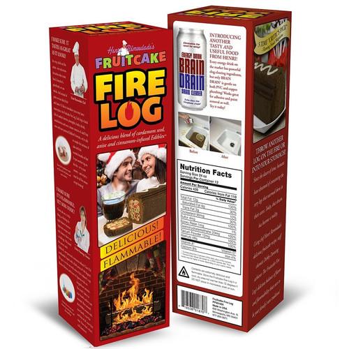 Prank Bottle Box Fruitcake Firelog