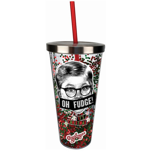 A Christmas Story Oh Fudge! Glitter Acrylic Cup With Straw and Lid