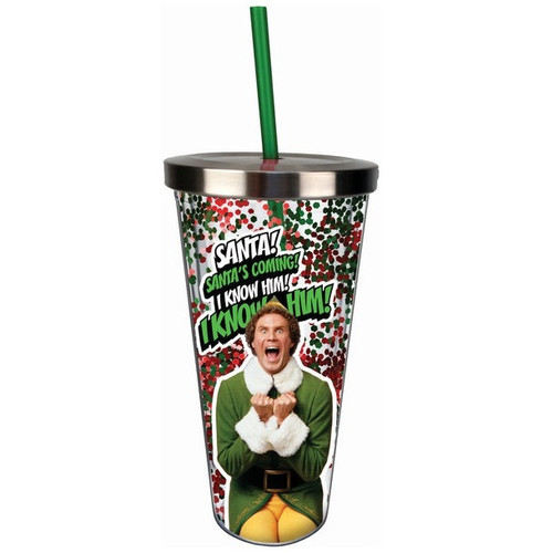 Elf Santa! I Know Him! Glitter Acrylic Cup With Straw and Lid