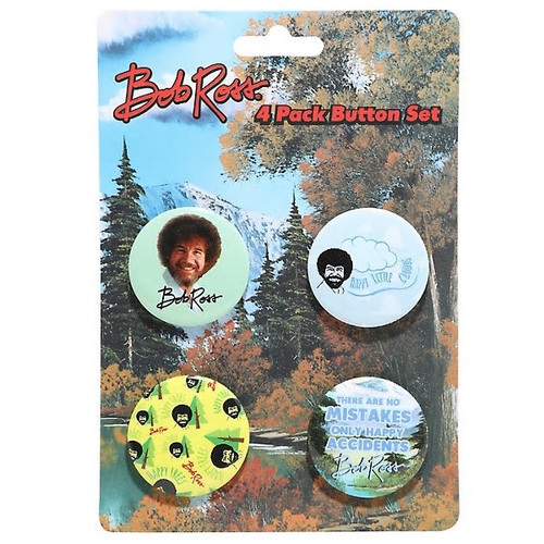 Bob Ross Buttons Set of Four