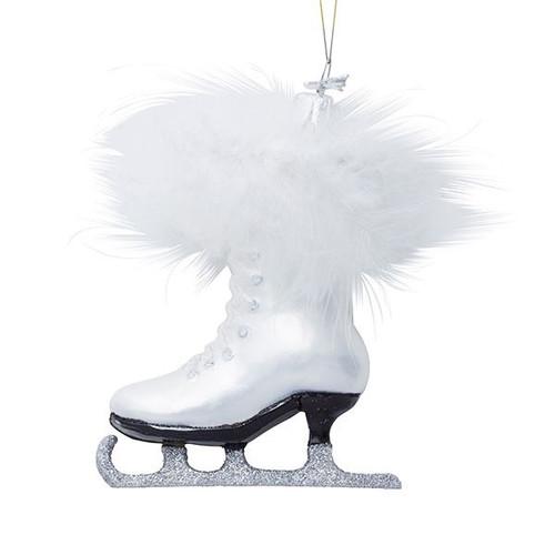 White Figure Skate Glass Ornament