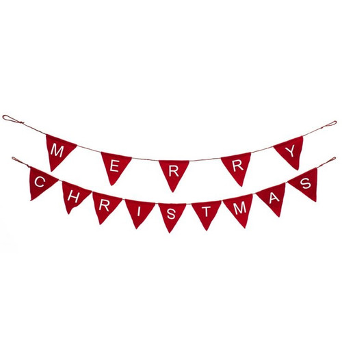 5' Red Merry Christmas Pennant Garland