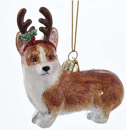 Welsh Corgi with Antlers Glass Ornament