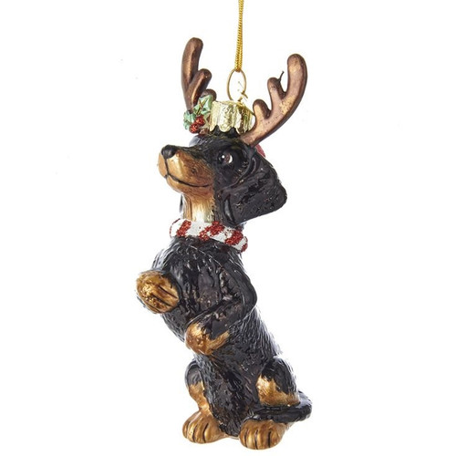 Dachshund with Antlers Glass Ornament
