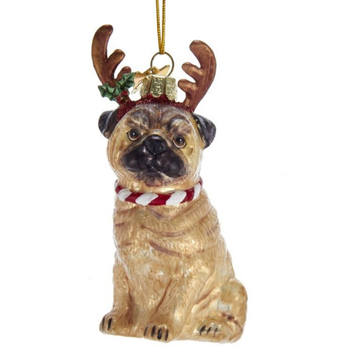 Pug with Antlers Glass Ornament