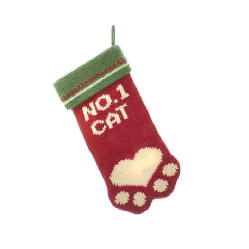 No. 1 Cat Knit Paw Stocking