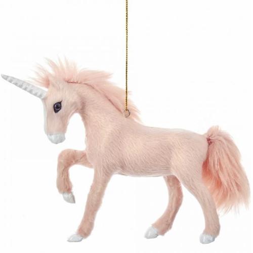 Flocked Pink Unicorn Ornament