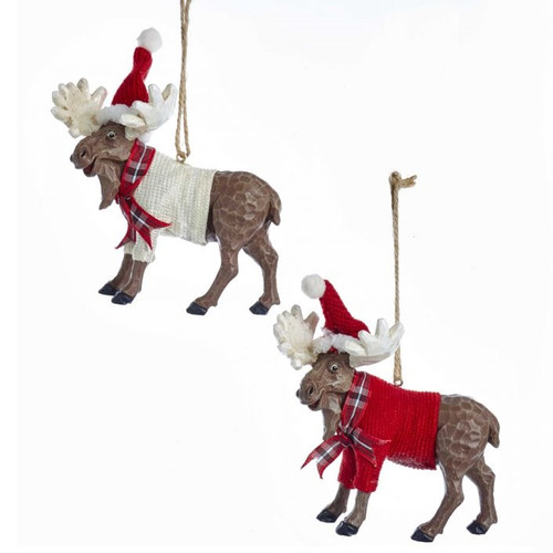 Christmas Moose in Sweaters Ornaments