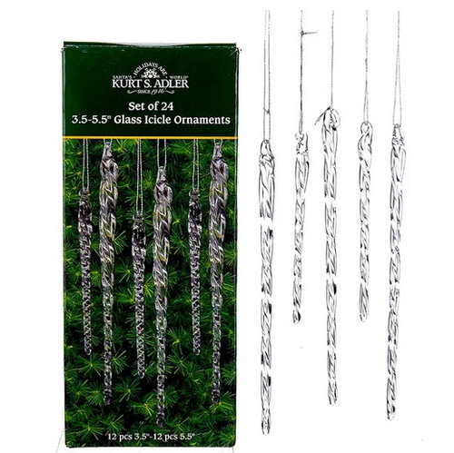 Glass icicle ornaments