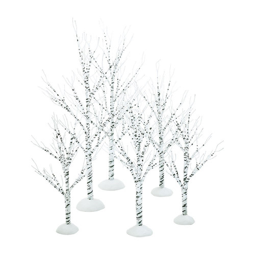 Department 56 Winter Birch Wrapped Wire Trees - Set of 6