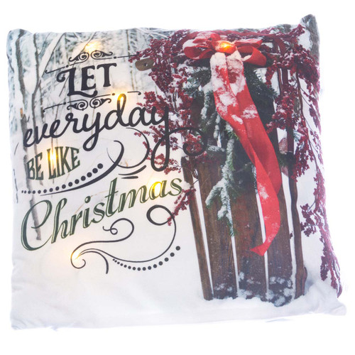 Light-Up Let Everyday Be Like Christmas Pillow