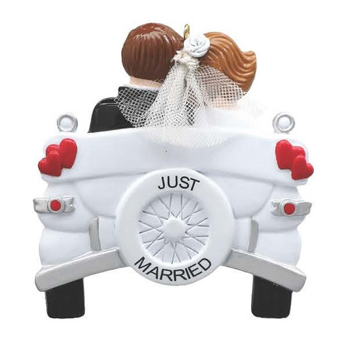 Just Married Vintage Wedding Car Personalized Ornament