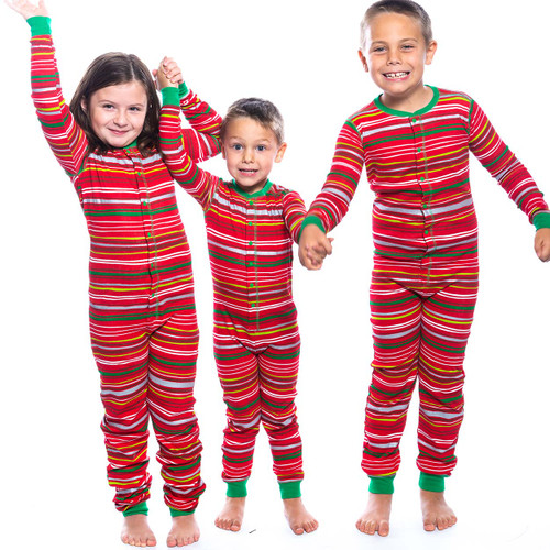 Kids Christmas Pajamas.Holiday Stripes Kids Christmas Onesie Union Suit By Hatley